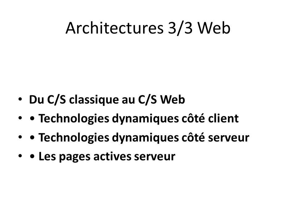 Architectures 3/3 Web Du C/S classique au C/S Web