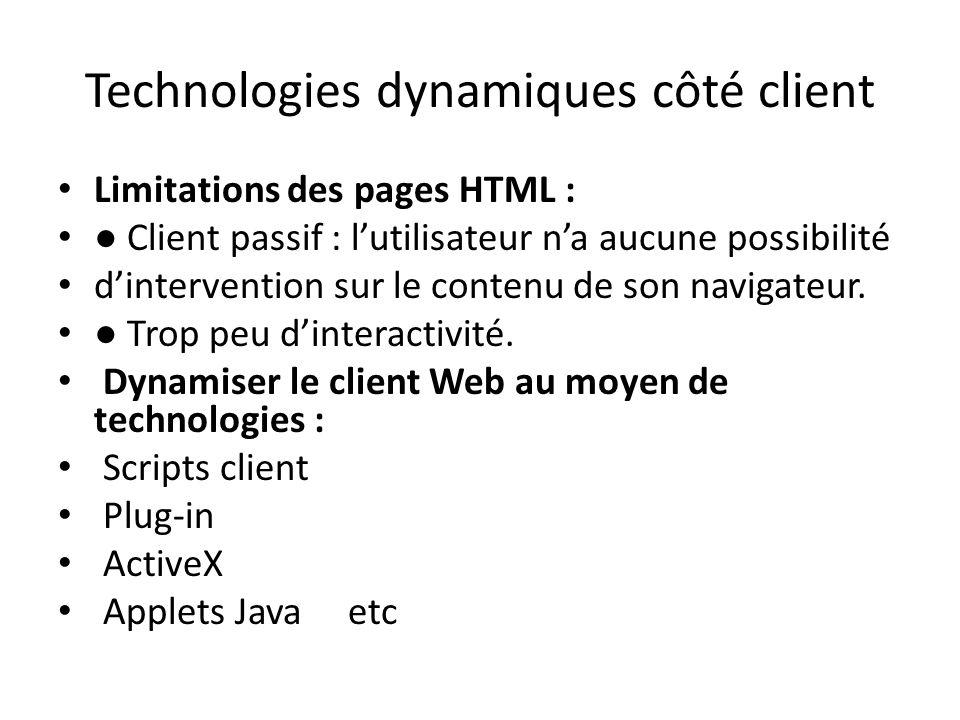 Technologies dynamiques côté client