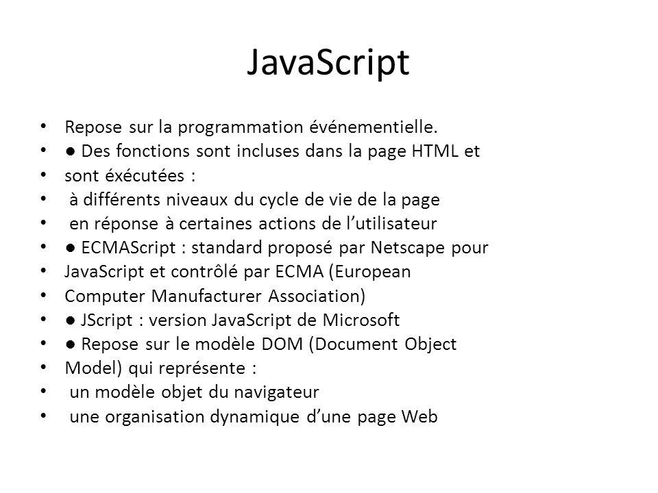 JavaScript Repose sur la programmation événementielle.