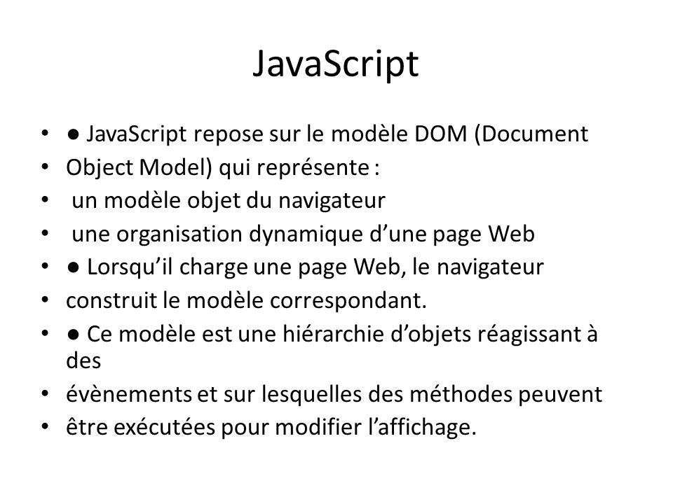 JavaScript ● JavaScript repose sur le modèle DOM (Document