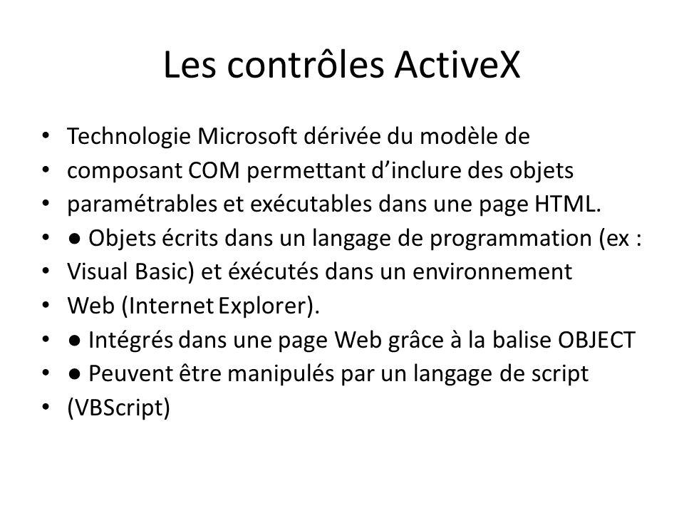 Les contrôles ActiveX Technologie Microsoft dérivée du modèle de
