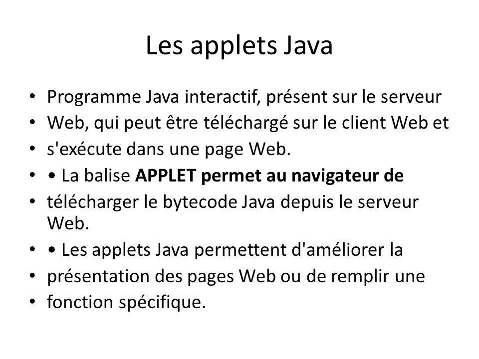 Les applets Java Programme Java interactif, présent sur le serveur