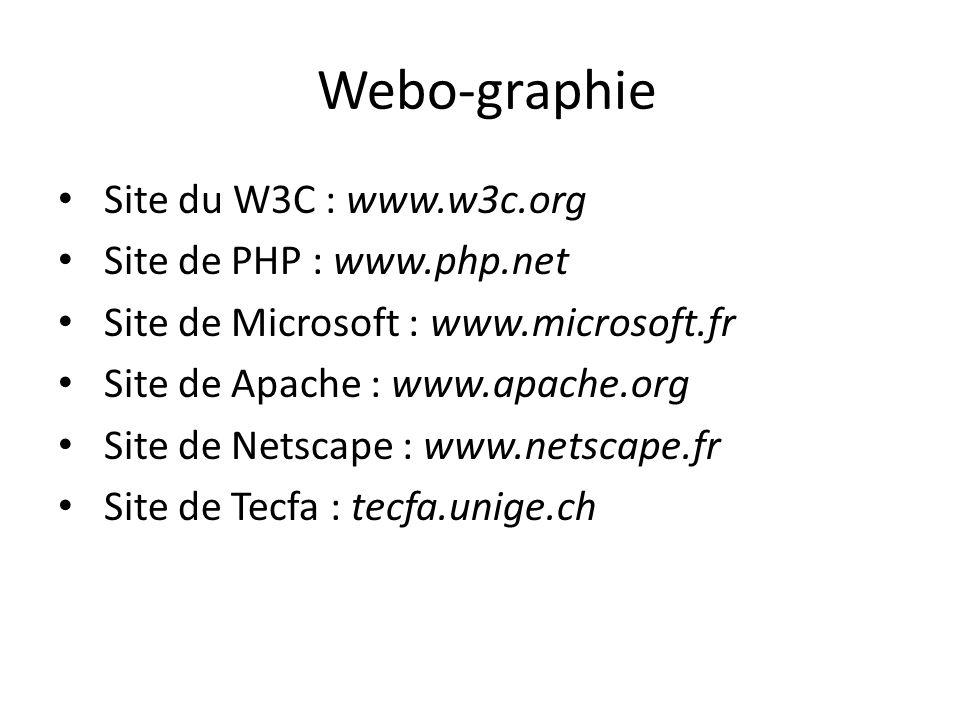 Webo-graphie Site du W3C : www.w3c.org Site de PHP : www.php.net
