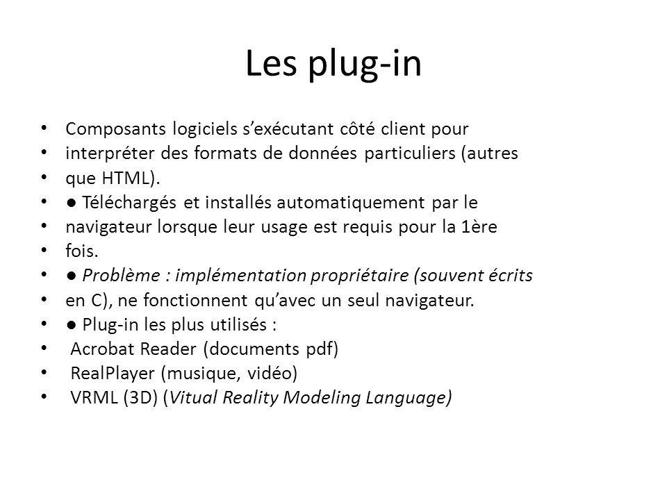 Les plug-in Composants logiciels s'exécutant côté client pour