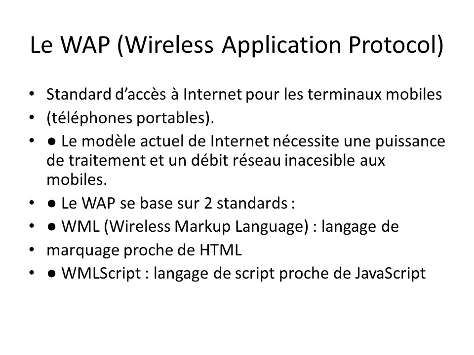 Le WAP (Wireless Application Protocol)