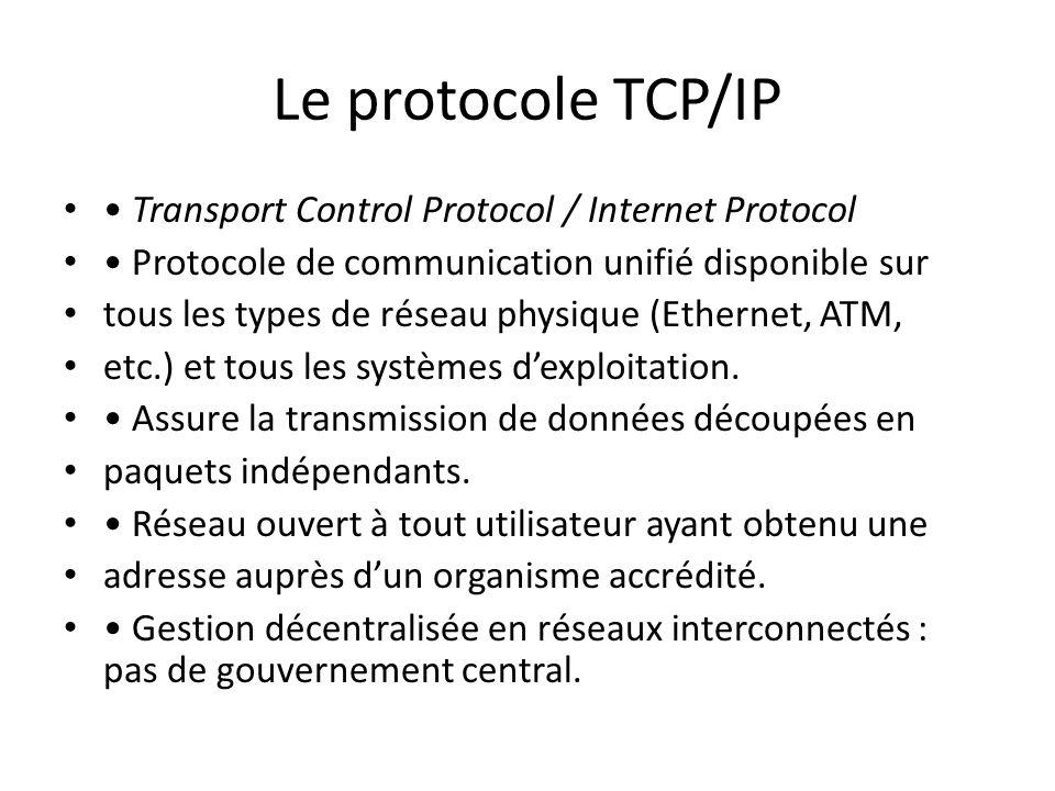 Le protocole TCP/IP • Transport Control Protocol / Internet Protocol