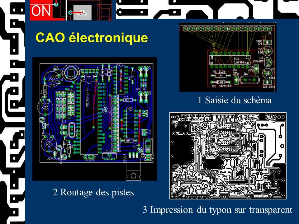 CAO électronique 1 Saisie du schéma 2 Routage des pistes