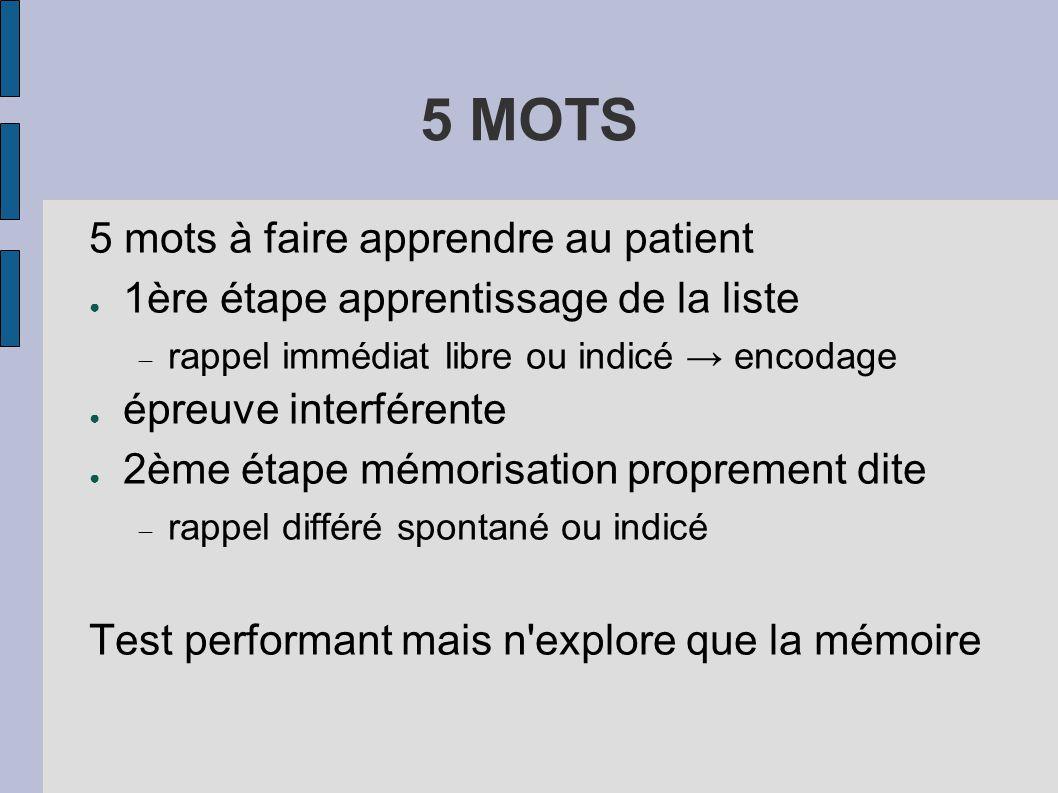 5 MOTS 5 mots à faire apprendre au patient