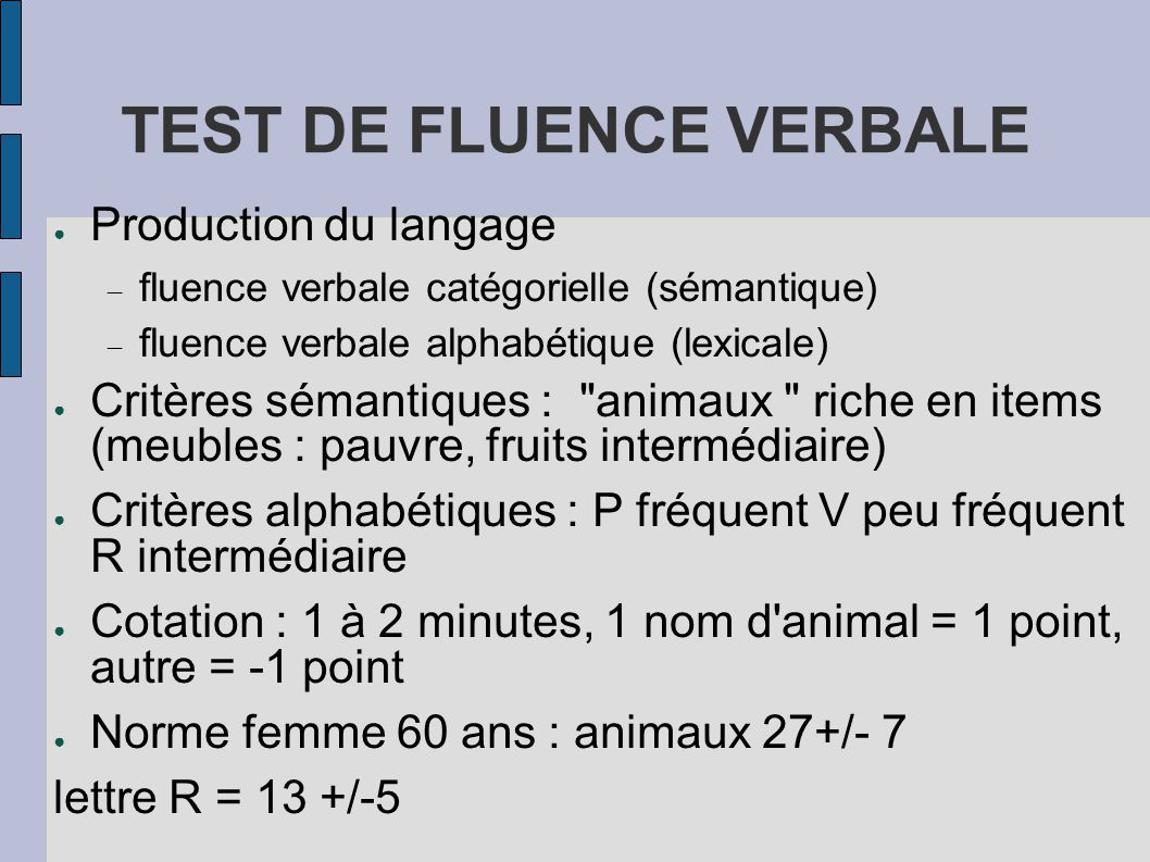 TEST DE FLUENCE VERBALE
