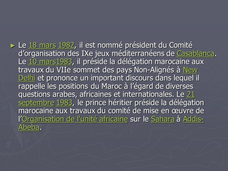 Le 18 mars 1982, il est nommé président du Comité d'organisation des IXe jeux méditerranéens de Casablanca.