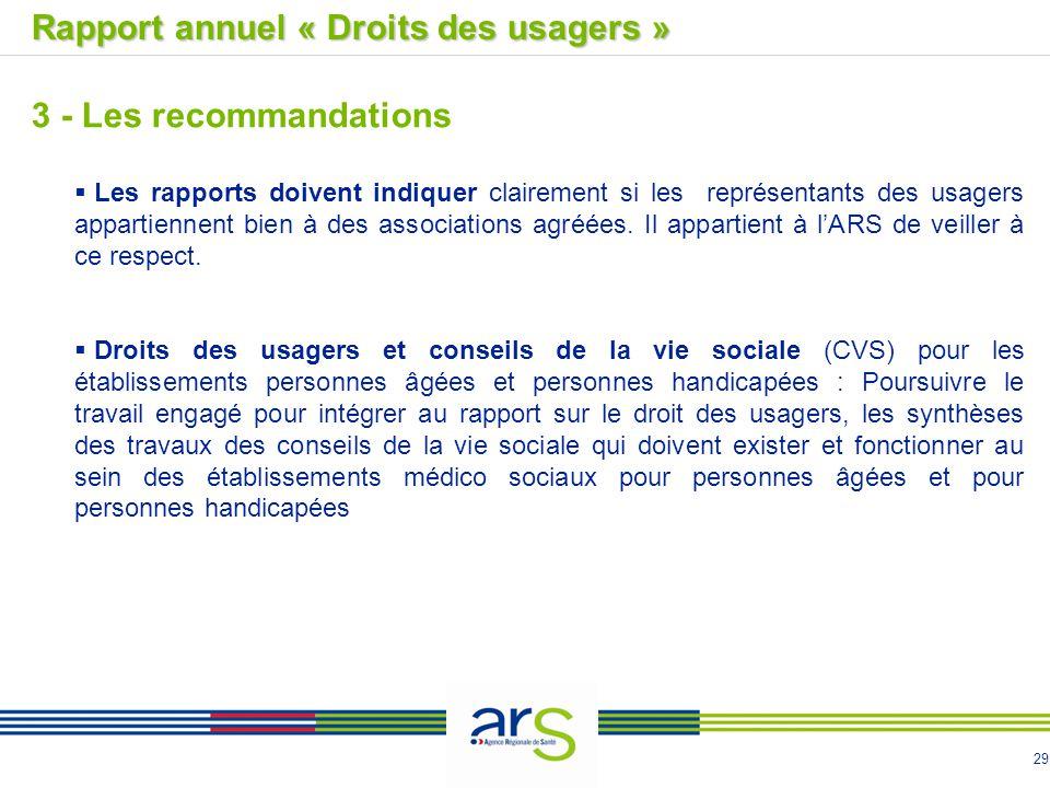 29 Rapport annuel « Droits des usagers » 3 - Les recommandations