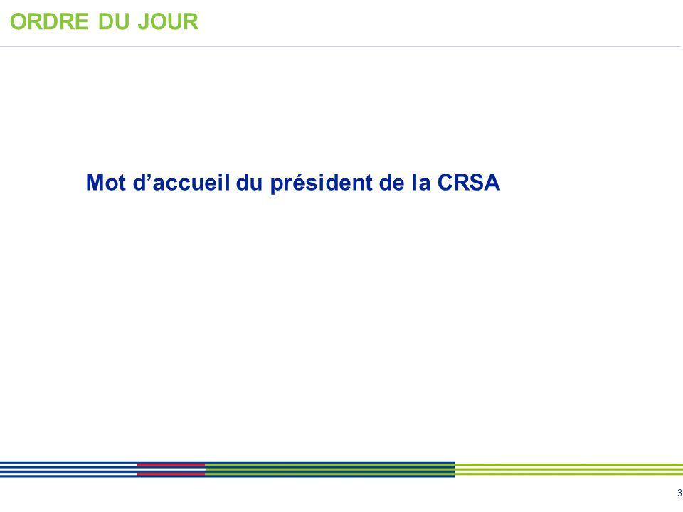 Mot d'accueil du président de la CRSA