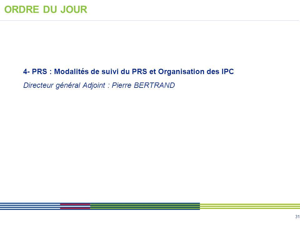 ORDRE DU JOUR 4- PRS : Modalités de suivi du PRS et Organisation des IPC.