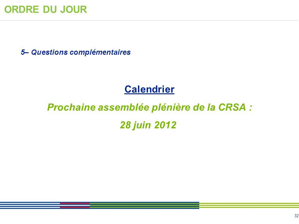 Prochaine assemblée plénière de la CRSA :