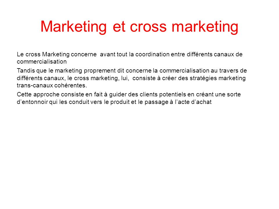 Marketing et cross marketing