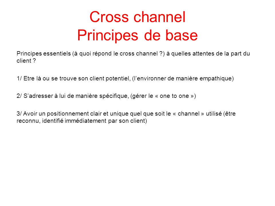 Cross channel Principes de base