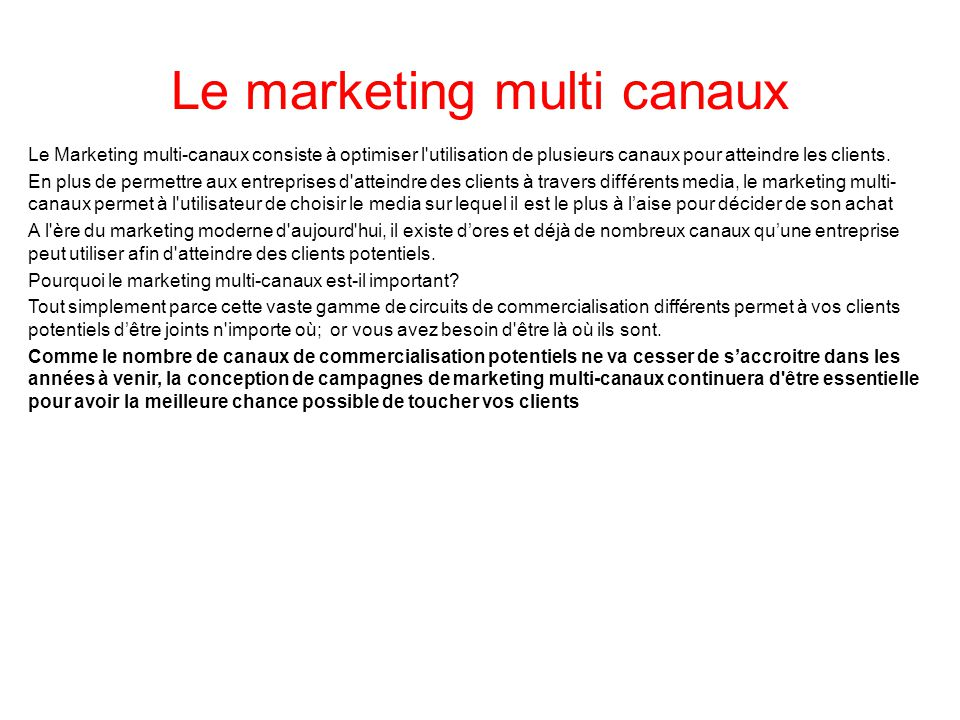 Le marketing multi canaux