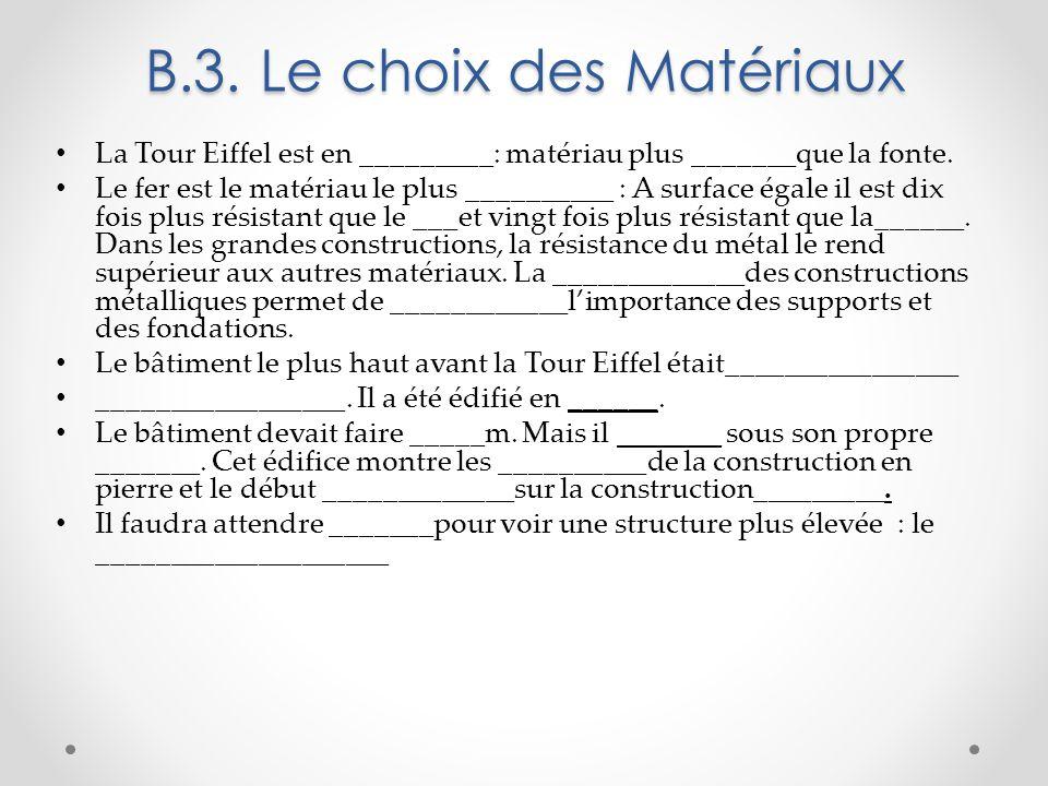 B.3. Le choix des Matériaux