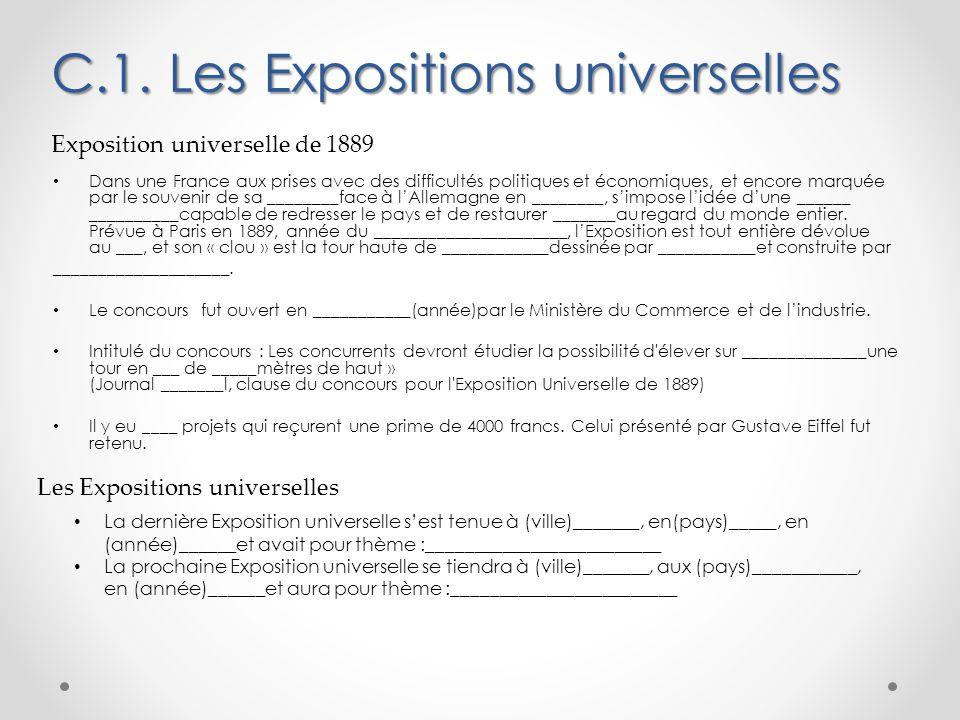C.1. Les Expositions universelles