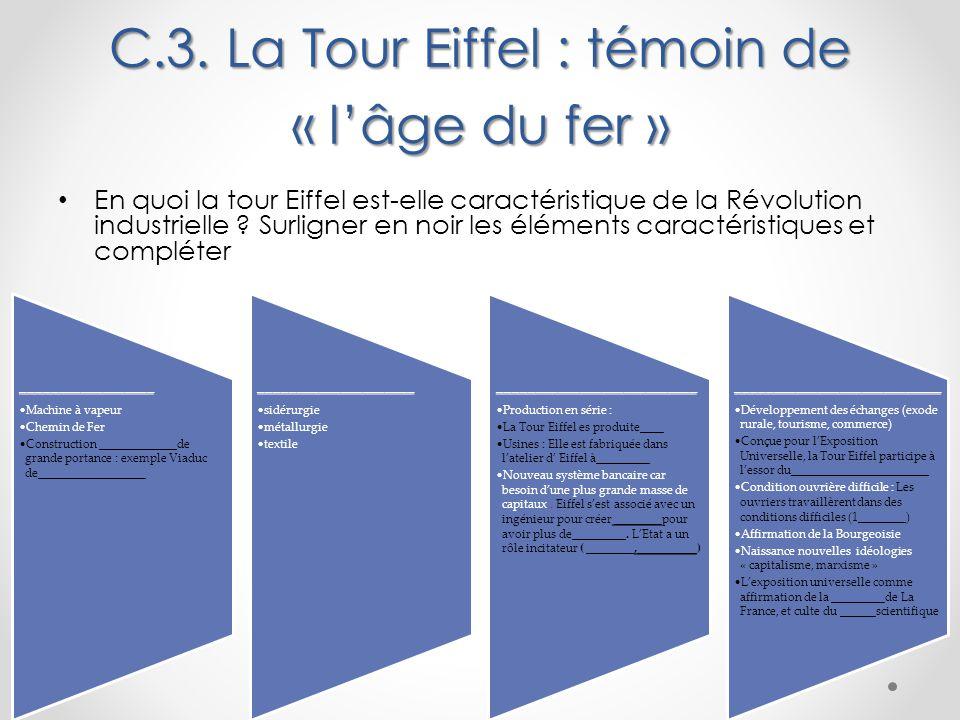 C.3. La Tour Eiffel : témoin de « l'âge du fer »