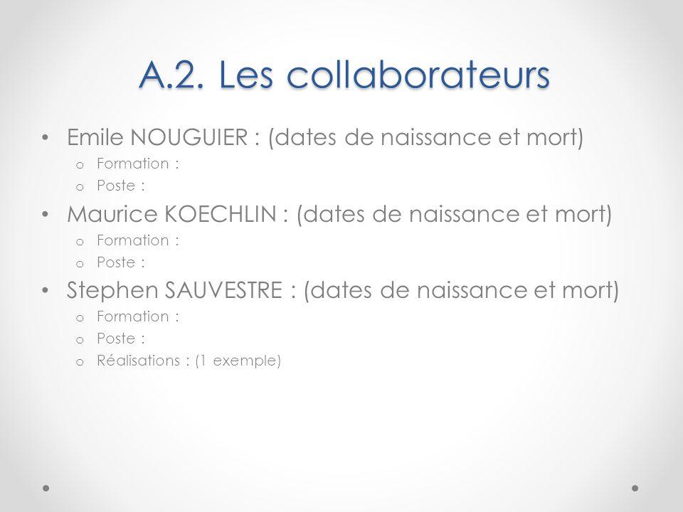 A.2. Les collaborateurs Emile NOUGUIER : (dates de naissance et mort)
