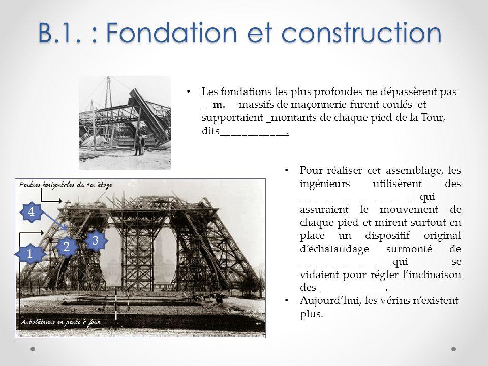 B.1. : Fondation et construction