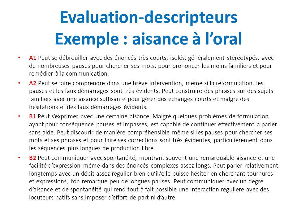 Evaluation-descripteurs Exemple : aisance à l'oral