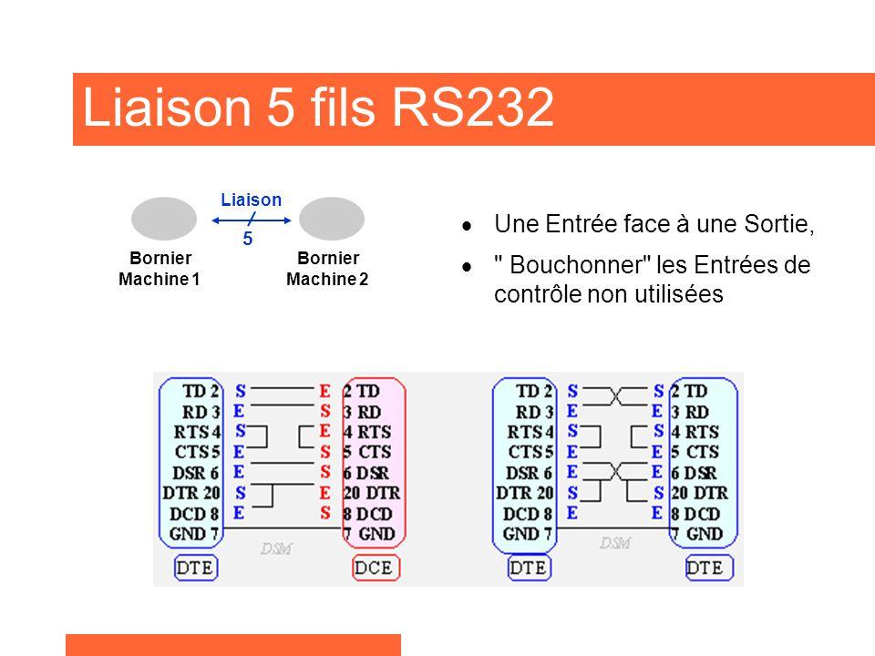 Liaison 5 fils RS232 Une Entrée face à une Sortie,