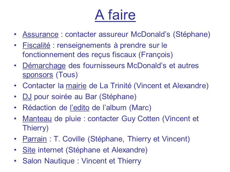 A faire Assurance : contacter assureur McDonald's (Stéphane)