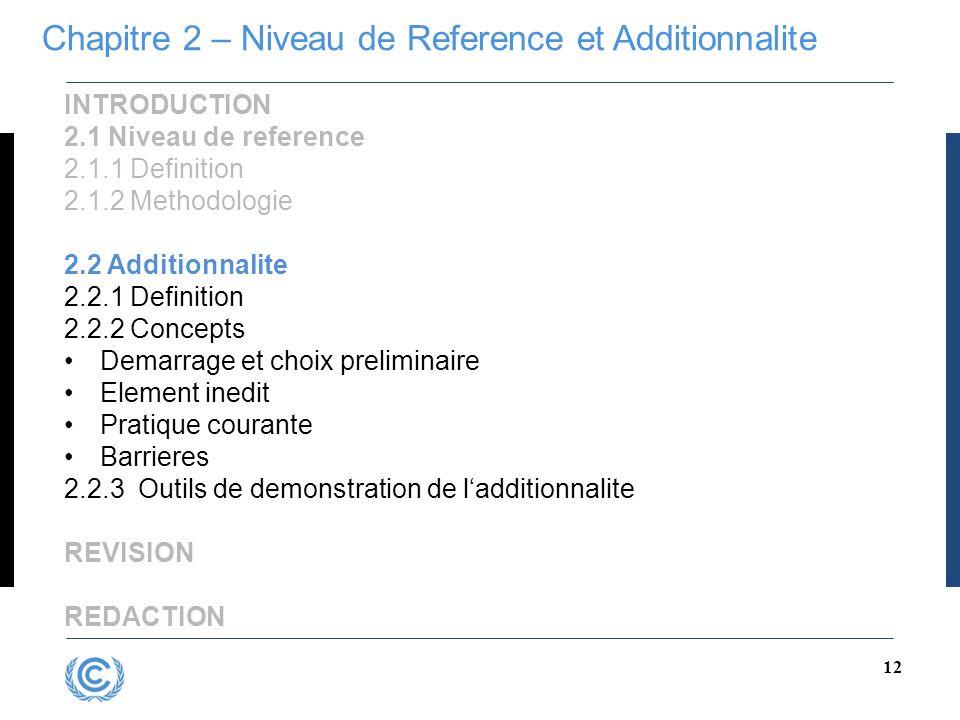 Chapitre 2 – Niveau de Reference et Additionnalite
