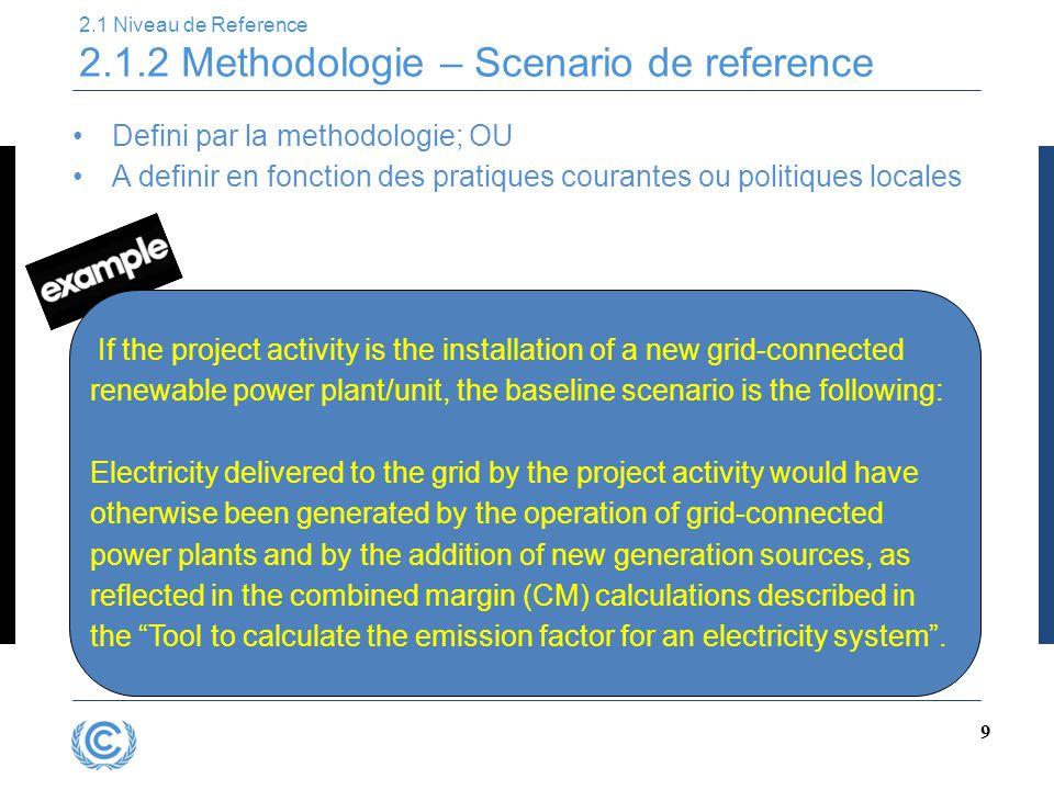 2.1 Niveau de Reference 2.1.2 Methodologie – Scenario de reference
