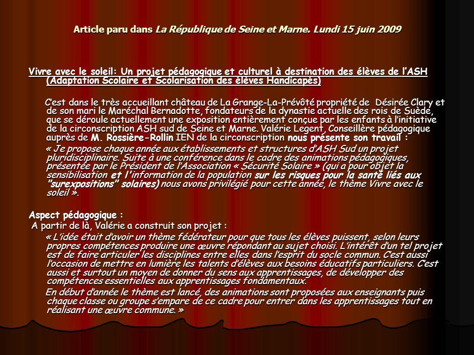 Article paru dans La République de Seine et Marne. Lundi 15 juin 2009