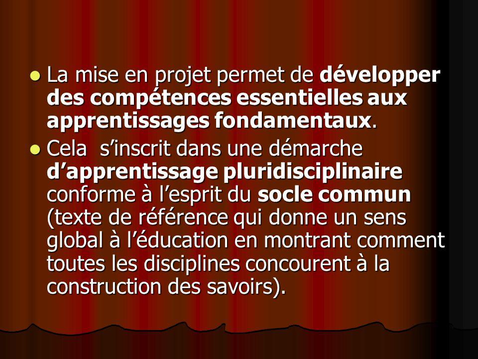 La mise en projet permet de développer des compétences essentielles aux apprentissages fondamentaux.