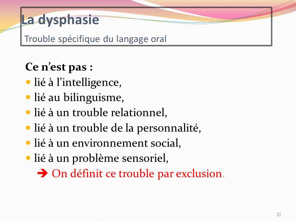 La dysphasie Trouble spécifique du langage oral