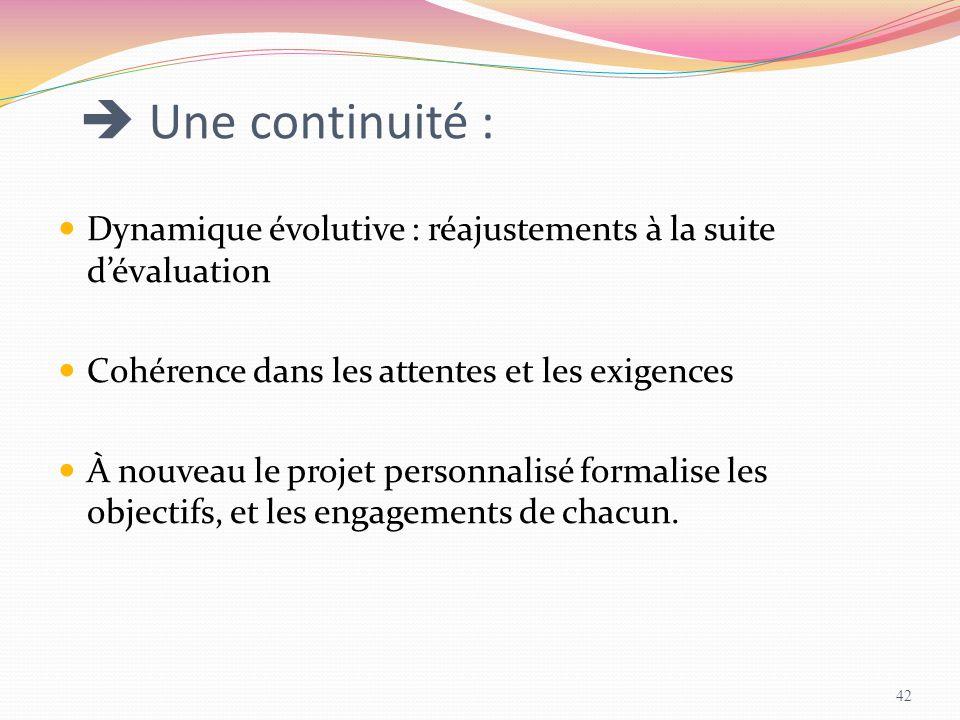  Une continuité : Dynamique évolutive : réajustements à la suite d'évaluation. Cohérence dans les attentes et les exigences.