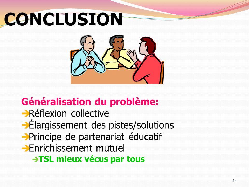 CONCLUSION Généralisation du problème: Réflexion collective