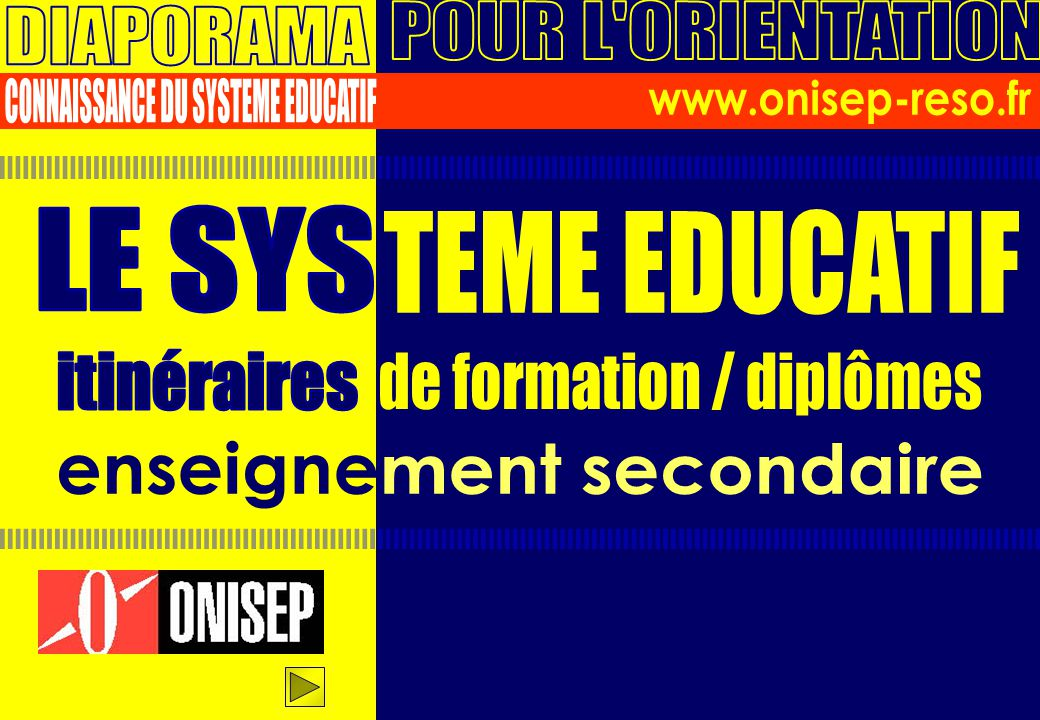 CONNAISSANCE DU SYSTEME EDUCATIF www.onisep-reso.fr