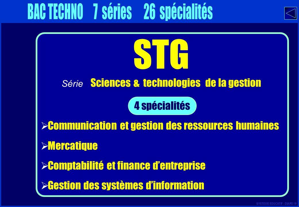 STG BAC TECHNO 7 séries 26 spécialités 4 spécialités