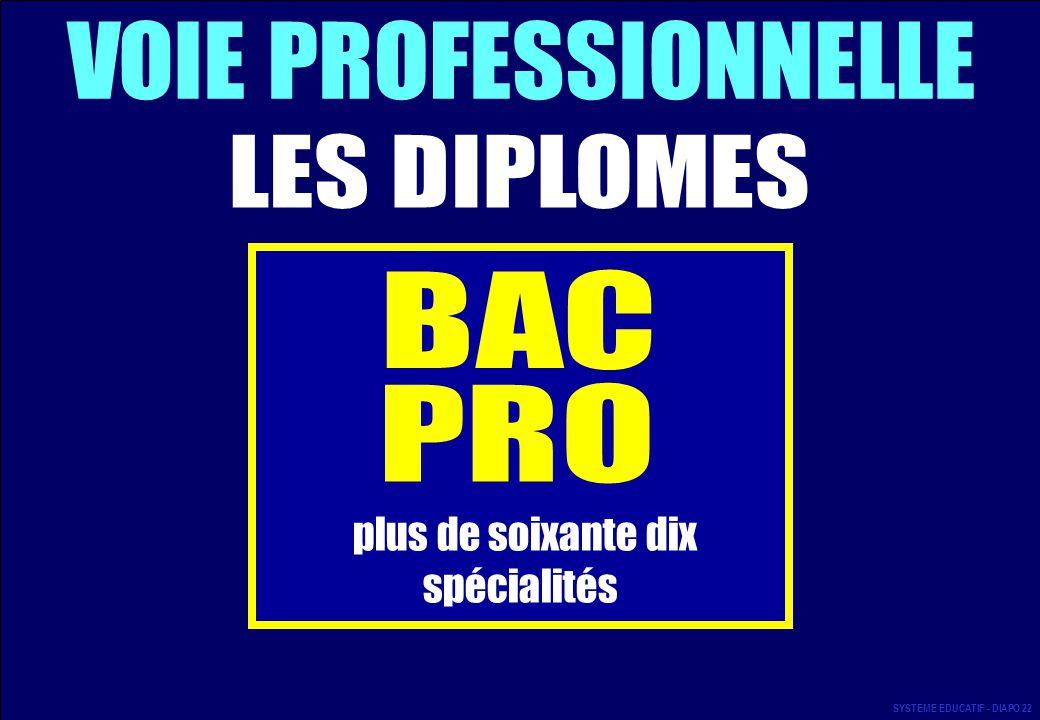 VOIE PROFESSIONNELLE LES DIPLOMES BAC PRO spécialités