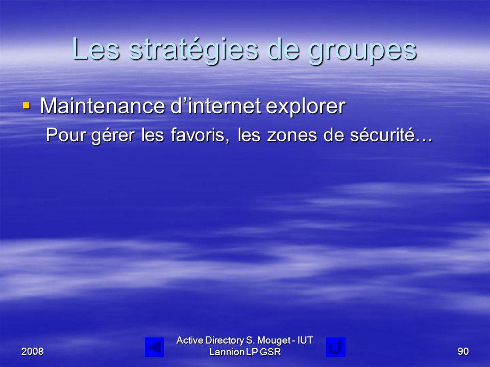 Les stratégies de groupes