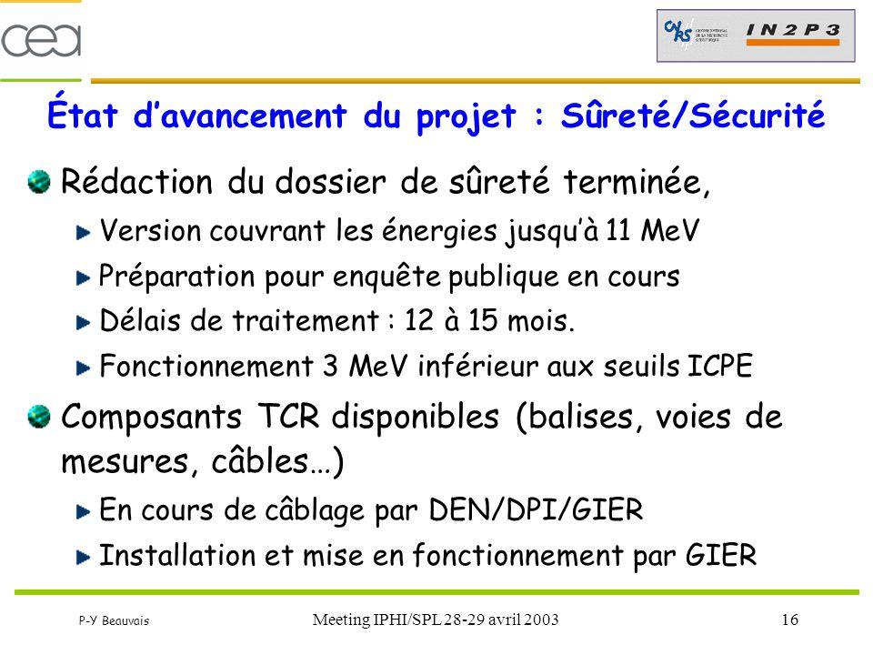 État d'avancement du projet : Sûreté/Sécurité