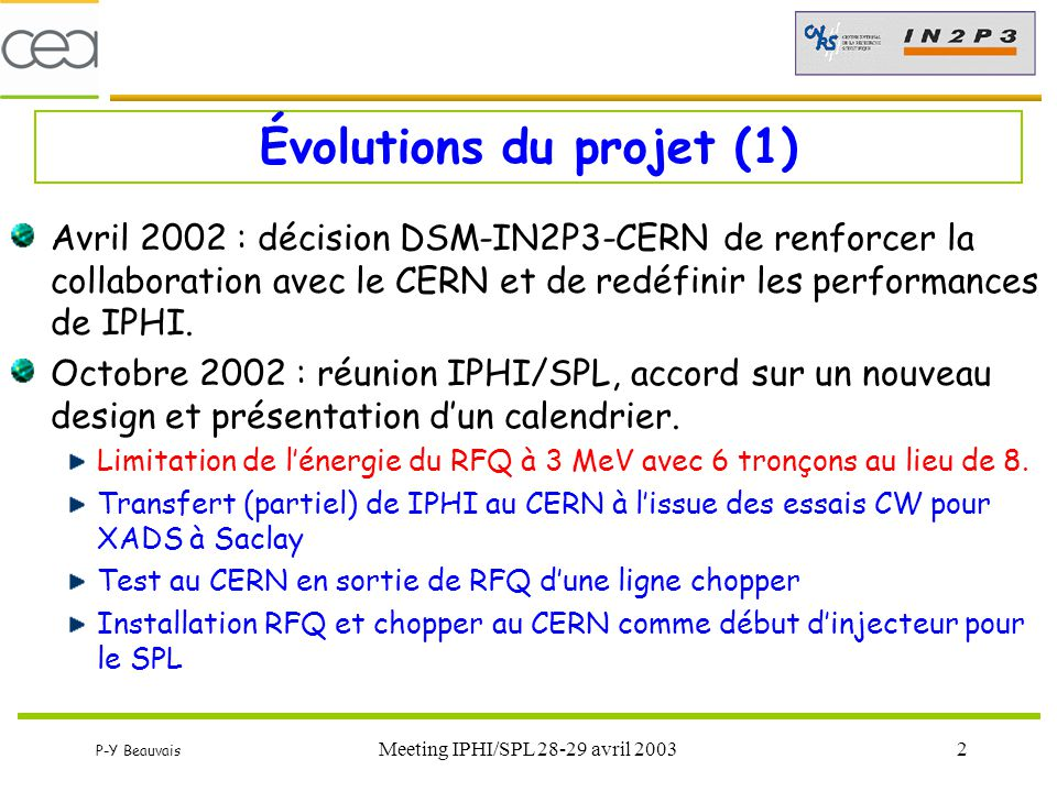 Évolutions du projet (1)