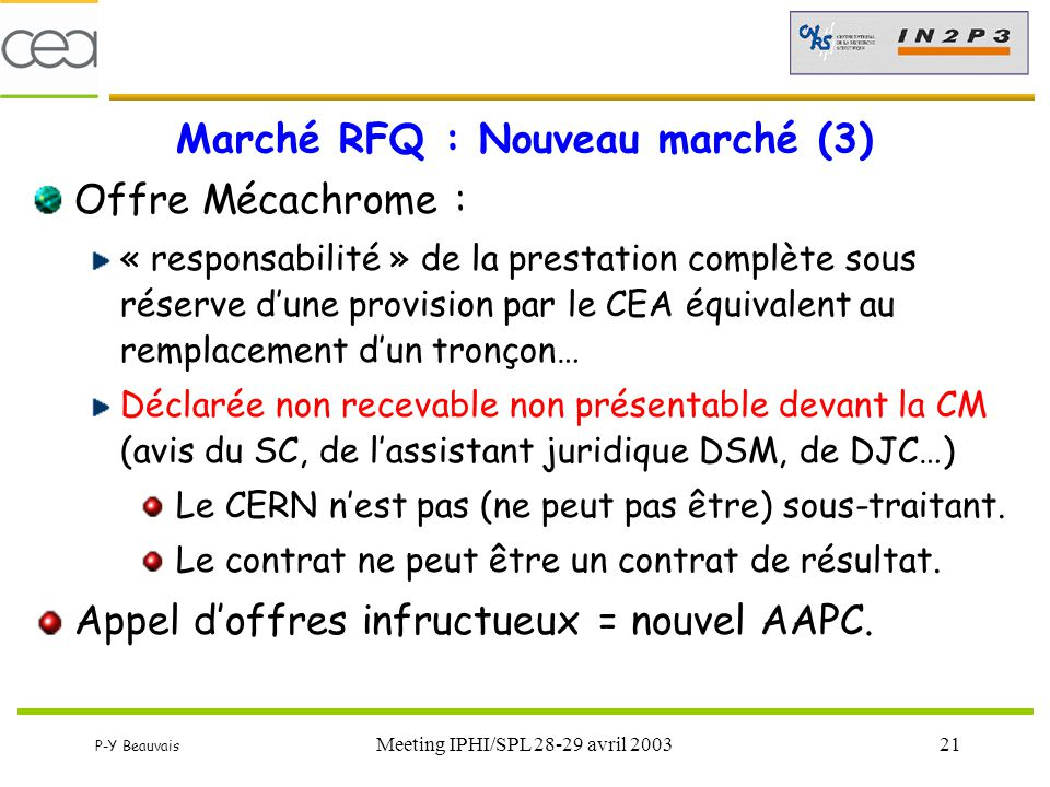 Marché RFQ : Nouveau marché (3)