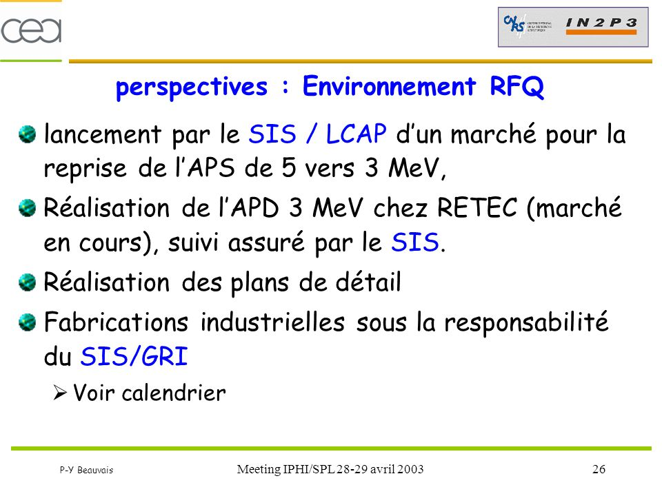 perspectives : Environnement RFQ
