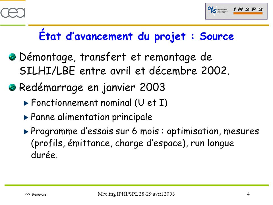 État d'avancement du projet : Source