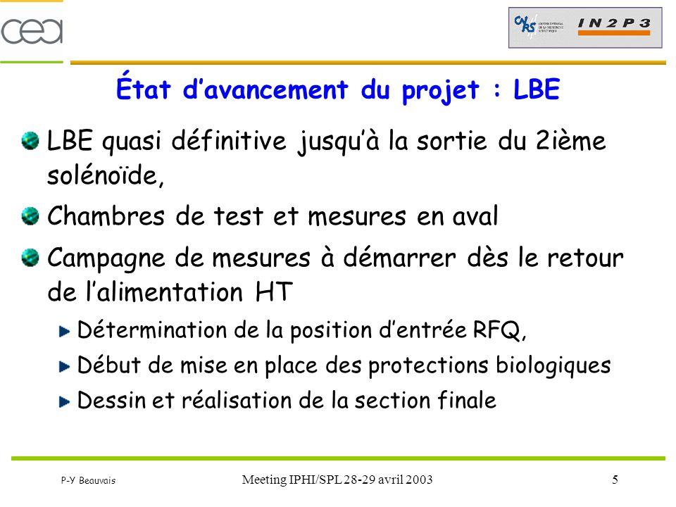 État d'avancement du projet : LBE