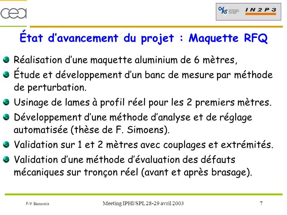 État d'avancement du projet : Maquette RFQ