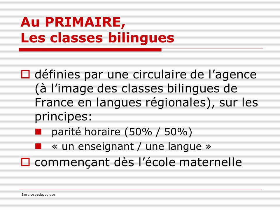 Au PRIMAIRE, Les classes bilingues