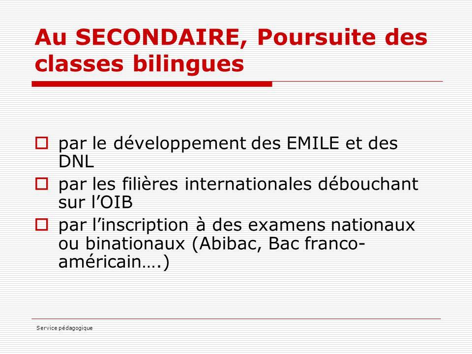 Au SECONDAIRE, Poursuite des classes bilingues