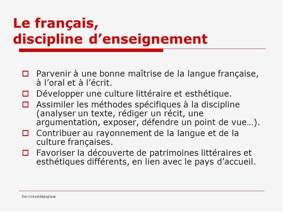 Le français, discipline d'enseignement
